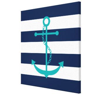 Ancla del trullo en rayas azules lona envuelta para galerías