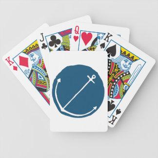 Ancla dibujada mano en alivio azul baraja cartas de poker