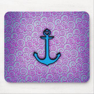Ancla en colores pastel azul y púrpura de moda del mousepads
