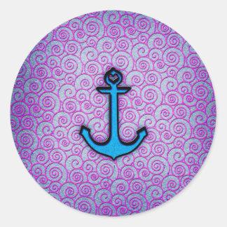 Ancla en colores pastel azul y púrpura de moda del pegatina redonda