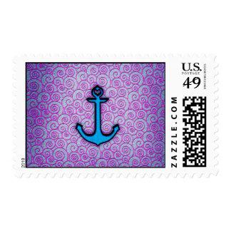 Ancla en colores pastel azul y púrpura de moda del franqueo