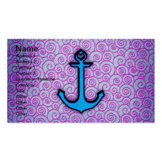 Ancla en colores pastel azul y púrpura de moda del plantilla de tarjeta personal