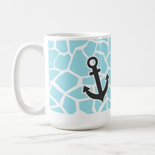 Ancla en estampado de animales azul de la jirafa d tazas de café