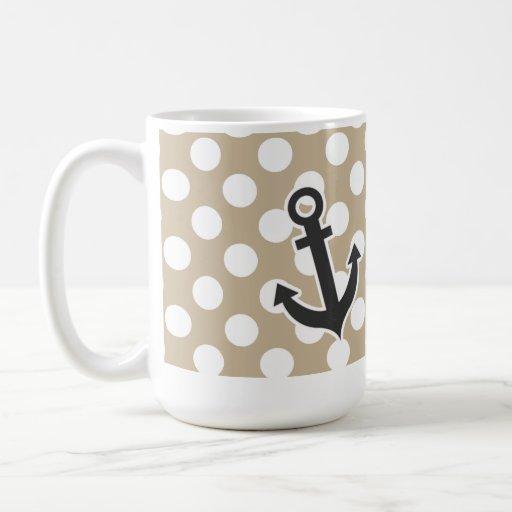 Ancla en lunares de color caqui tazas de café