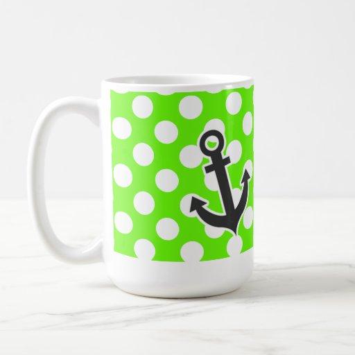 Ancla en lunares verdes claros taza de café