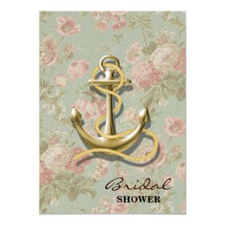 "ancla femenina floral inglesa linda náutica invitación 4.5"" x 6.25"""