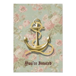 "ancla femenina floral inglesa linda náutica invitación 5"" x 7"""