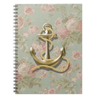 ancla femenina floral inglesa linda náutica libretas