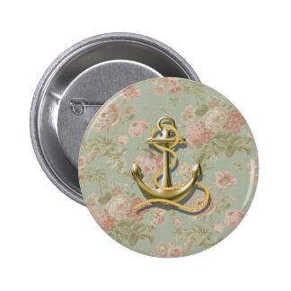 ancla femenina floral inglesa linda náutica pin