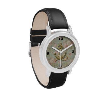 ancla femenina floral inglesa linda náutica relojes de pulsera