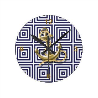 ancla femenina moderna de la playa de los azules reloj redondo mediano