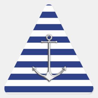 Ancla fina del cromo en rayas náuticas calcomania de triangulo