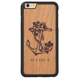Ancla floral del barco de los azules marinos funda de cerezo bumper carved® para iPhone 6 plus
