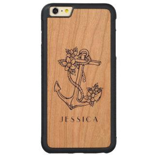 Ancla floral náutica azul del barco funda de cerezo bumper carved® para iPhone 6 plus