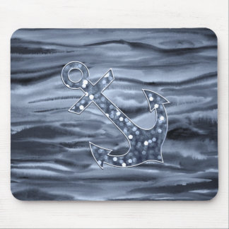 Ancla gris azulada náutica del brillo de la acuare alfombrilla de raton