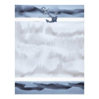 Ancla gris azulada náutica del brillo de la acuare membrete