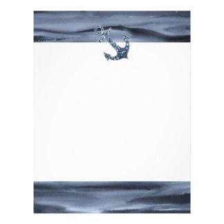 Ancla gris azulada náutica del brillo de la acuare plantilla de membrete