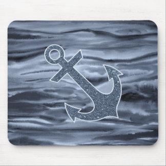 Ancla gris azulada náutica del brillo de la acuare tapete de ratones