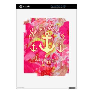 Ancla inspirada y amapolas rosadas Art. iPad 2 Calcomanías