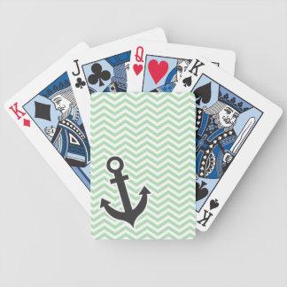 Ancla linda en el Celadon retro Chevron; zigzag Baraja Cartas De Poker