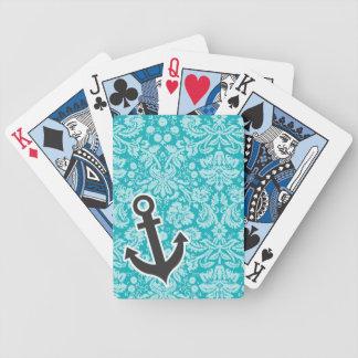 Ancla linda en modelo azulverde del damasco cartas de juego