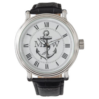 Ancla, monograma náutico relojes de pulsera