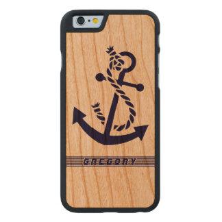 Ancla náutica 3 del barco de los azules marinos y funda de iPhone 6 carved® slim de cerezo
