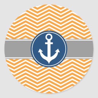Ancla náutica anaranjada Chevron Pegatina Redonda