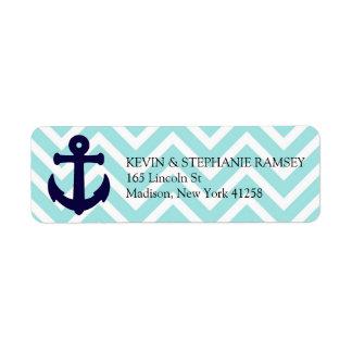 Ancla náutica azul y blanca de Chevron Etiqueta De Remite