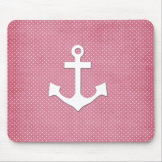Ancla náutica blanca de los lunares rosados del vi alfombrillas de raton