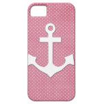 Ancla náutica blanca de los lunares rosados del vi iPhone 5 Case-Mate protector