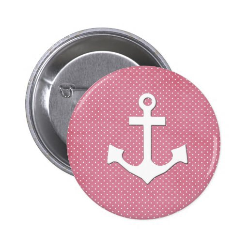 Ancla náutica blanca de los lunares rosados del vi pin redondo de 2 pulgadas
