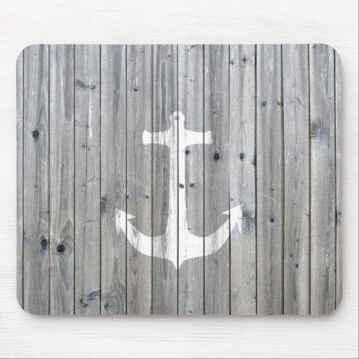 Ancla náutica blanca del vintage del inconformista mouse pads
