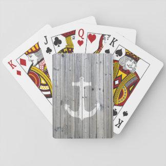 Ancla náutica blanca del vintage del inconformista barajas de cartas