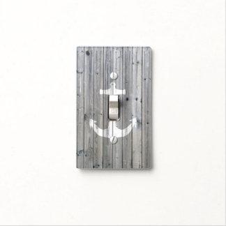 Ancla náutica blanca del vintage del inconformista placa para interruptor