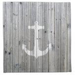 Ancla náutica blanca del vintage del inconformista servilleta