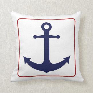 Ancla náutica - blanco y azul rojos cojines