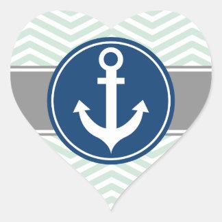 Ancla náutica Chevron de la verde menta Pegatina En Forma De Corazón