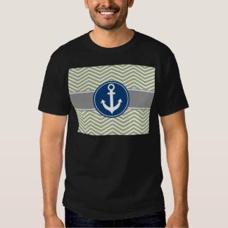 Ancla náutica Chevron de la verde salvia Polera