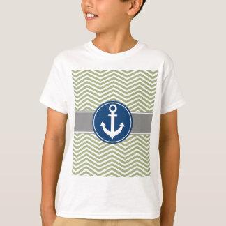 Ancla náutica Chevron de la verde salvia Remera