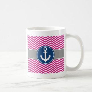 Ancla náutica Chevron de las rosas fuertes Taza De Café