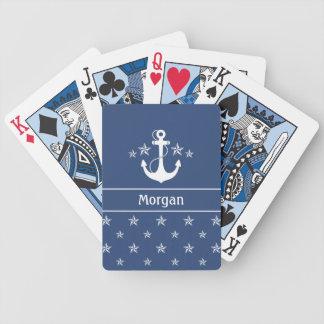 Ancla náutica con las estrellas baraja cartas de poker