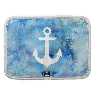 Ancla náutica de la acuarela blanca azul femenina organizador