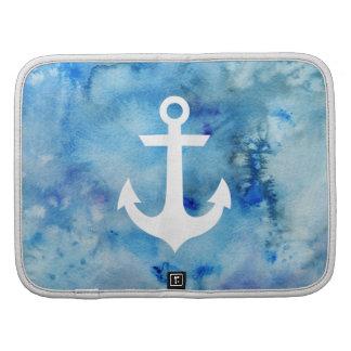 Ancla náutica de la acuarela blanca azul femenina planificador