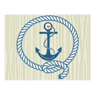 Ancla náutica de la marina de guerra con la cuerda tarjetas postales