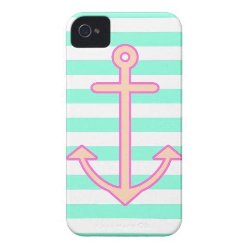 Ancla náutica de la menta en colores pastel Case-Mate iPhone 4 funda