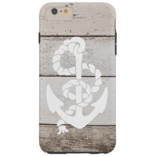 Ancla náutica de la navegación en la falsa madera funda para iPhone 6 plus tough