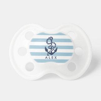 Ancla náutica de la raya azul personalizada chupetes de bebe