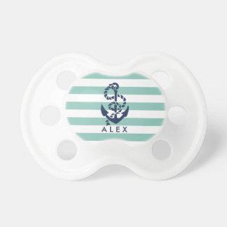 Ancla náutica de la raya de la menta personalizada chupete de bebé