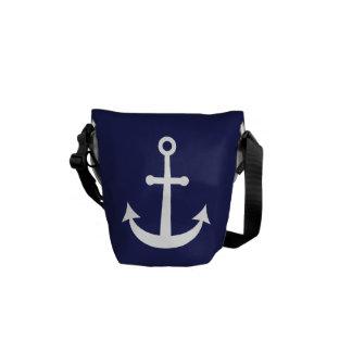 Ancla náutica de los azules marinos bolsa de mensajeria